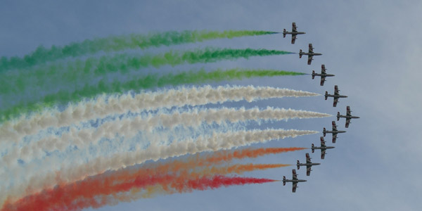 The Italian Frecce Tricolori at lake Garda